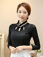 T-shirt Da donna Casual Primavera Autunno,Tinta unita Colletto alla coreana Poliestere Manica lunga Medio spessore