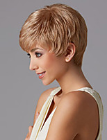 Women Synthetic Wig Capless Short Straight Blonde Pixie Cut With Bangs Natural Wigs Costume Wig