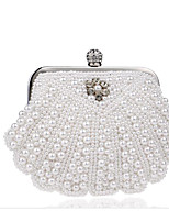 Women Bags All Seasons Polyester Evening Bag Buttons Pearl Detailing for Casual White Milky White Beige