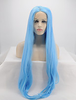 Women Synthetic Wig Lace Front Long Straight Sky Blue Party Wig Halloween Wig Carnival Wig Natural Wigs Costume Wig
