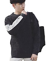 Men's Going out Casual/Daily Simple Street chic Regular Pullover,Print Round Neck Long Sleeves Acrylic Polyester Spring Fall Medium