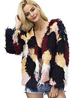 Women's Daily Work Simple Casual Winter Fall Fur Coat,Color Block V Neck Long Sleeve Regular Wool