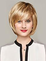 жен. Человеческие волосы без парики Черный Желтый Клубника Blonde / Bleach Blonde Средний Прямые Волосы с окрашиванием омбре Темные корни
