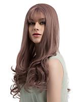 жен. Парики из искусственных волос Без шапочки-основы Длиный Волнистые Фиолетовый Прямой пробор С чёлкой Парик из натуральных волос