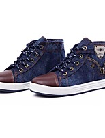 Boys' Shoes PU Denim Spring Fall Comfort Sneakers Zipper Lace-up For Casual Blue