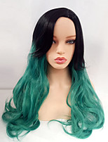 Women Synthetic Wig Capless Long Wavy Black/Green Side Part Ombre Hair Dark Roots With Bangs Cosplay Wig Costume Wig