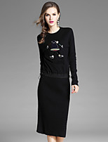 EWUS Women's Going out Casual/Daily Dresses&Skirts Two Pieces Casual/Sporty Fall Blouse Skirt Suits,Embroidered Round Neck Long Sleeve Stretchy