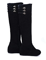 Femme Chaussures Cuir Nappa Cuir Automne Hiver Bottes à la Mode Bottes Talon Compensé Bottes Pour Décontracté Noir