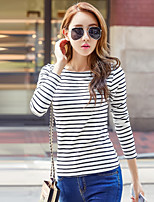 Women's Daily Going out Casual Street chic All Seasons T-shirt,Striped Round Neck Long Sleeves Cotton Acrylic Thin