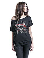 Women's Going out Street chic Summer T-shirt,Print Off Shoulder Short Sleeves Others Opaque
