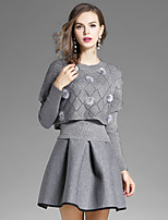 EWUS Women's Going out Casual/Daily Street chic Fall Blouse Skirt Suits,Solid Round Neck Long Sleeve Stretchy