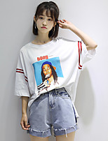 Women's Daily Casual Street chic Summer T-shirt,Striped Print Letter Round Neck Short Sleeves Cotton Medium