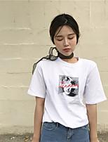 Feminino Camiseta Casual Simples Estampado Linho Decote Redondo Manga Curta