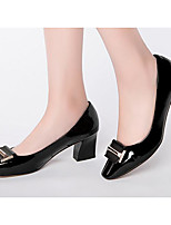 Women's Shoes Cowhide Nappa Leather Spring Fall Comfort Heels For Casual Black