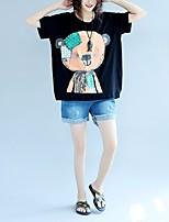 Tee-shirt Femme,Géométrique Décontracté / Quotidien simple Manches Courtes Col Arrondi Coton