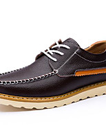 Men's Shoes Real Leather Spring Fall Comfort Sneakers For Casual Outdoor Dark Brown Dark Blue Black