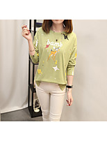 Women's Daily Work Cute Casual Sophisticated Winter Fall T-shirt,Solid Print Round Neck Long Sleeves Cotton Polyester Medium