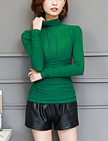 Women's Going out Work Winter Fall Blouse,Solid Turtleneck Long Sleeves Polyester Spandex Thick