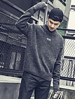 Men's Casual/Daily Simple Regular Pullover,Solid Round Neck Long Sleeves Polyester Fall Winter Medium Micro-elastic