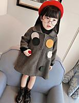 Girls' Print Jacket & Coat,PU Cotton Fall Winter Long Sleeve