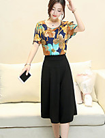 Women's Casual/Daily Simple Vintage Summer Blouse Pant Suits,Floral Round Neck Short Sleeve Cotton Micro-elastic