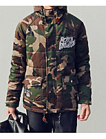 Men's Padded Coat,Simple Casual/Daily Camouflage Letter-Others Cotton Long Sleeves