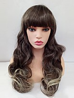 Women Synthetic Wig Capless Long Wavy Flaxen Ombre Hair With Bangs Cosplay Wig Costume Wig