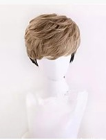 Men Synthetic Wig Capless Short Straight Black/Gold Cosplay Wig Natural Wigs Costume Wig