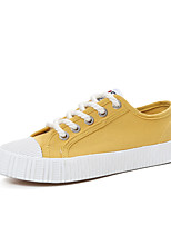 Women's Shoes Canvas Spring Summer Comfort Sneakers Flat Heel Round Toe Split Joint For Casual Outdoor Yellow Black White