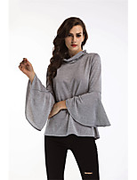 Women's Daily Going out Casual Winter Fall T-shirt,Solid Round Neck Long Sleeves Cotton Medium