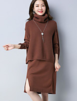 Women's Holiday Going out Vintage Fall Sweater Skirt Suits,Solid Round Neck Long Sleeve Polyester Stretchy