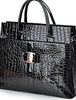 Women Bags All Seasons PU Tote Zipper for Casual Black Fuchsia