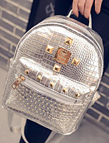 Women Bags PU Backpack Zipper for Casual All Seasons Gold Black Silver