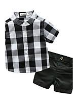 Baby Boys' Cotton Lattice Clothing Set,Check Summer