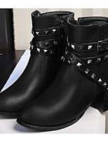 Mujer Zapatos Cuero de Napa PU Otoño Invierno Botas de Moda Botas de Combate Botas Tacón Robusto Botines/Hasta el Tobillo Para Casual