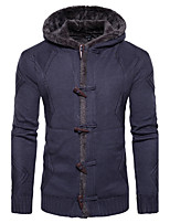 Men's Casual/Daily Simple Regular Cardigan,Solid Hooded Long Sleeves Cotton Spring Winter Medium Micro-elastic