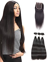 Human Hair Brazilian Natural Color Hair Weaves Straight Hair Extensions 4 Pieces Black