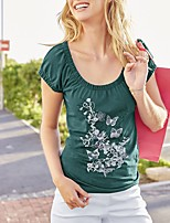 Women's Daily Going out Summer Fall T-shirt,Print Round Neck Short Sleeves Polyester Medium