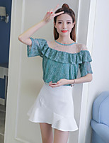 Women's Casual/Daily Simple Summer Blouse Skirt Suits,Solid Round Neck Short Sleeve Micro-elastic