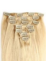 Недорогие -На клипсе Расширения человеческих волос 7Pcs / обновления 70g / пакет Темно-рыжий Отбеливатель Blonde Средний коричневый клубничная