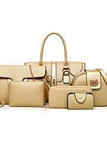 Women Bags All Seasons PU Bag Set 6 Pieces Purse Set Zipper for Casual Gold Black Gray Dark Brown