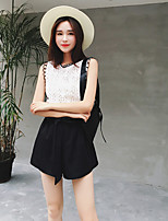 Women's Going out Casual/Daily Simple Sexy Summer Tank Top Pant Suits,Solid Round Neck Sleeveless