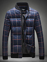 Men's Padded Coat,Simple Going out Casual/Daily Houndstooth-Polyester Others Polypropylene Long Sleeves