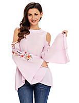 Women's Holiday Going out Cute Fall T-shirt,Floral Round Neck Long Sleeves Polyester Spandex Medium