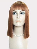 Women Synthetic Wig Capless Long Kinky Straight Medium Auburn Bob Haircut Layered Haircut With Bangs Celebrity Wig Halloween Wig Cosplay