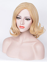 Women Synthetic Wig Capless Short Curly Wavy Blonde Side Part Highlighted/Balayage Hair Natural Hairline Bob Haircut Asymmetrical Haircut
