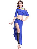 Belly Dance Outfits Women's Performance Spandex Pleated Half Sleeve Dropped Skirts Tops