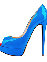 Women's Shoes PU Spring Comfort Heels For Casual Blue Red Black