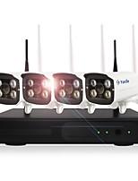 yanse® 1.3mp 4ch sans fil nvr kits 960p étanche ir vision nocturne wifi caméra ip système de sécurité