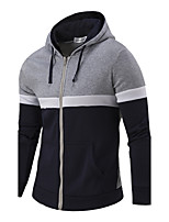 Men's Daily Holiday Hoodie Color Block Hooded Micro-elastic Cotton Long Sleeve Winter Fall
